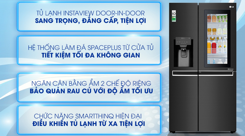 Tủ lạnh LG Inverter InstaView Door-in-Door 601 lít GR-X247MC